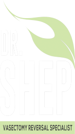 Dr Shep Vasectomy Reversal specialist logo is a green leaf above Dr Shep in white block letters